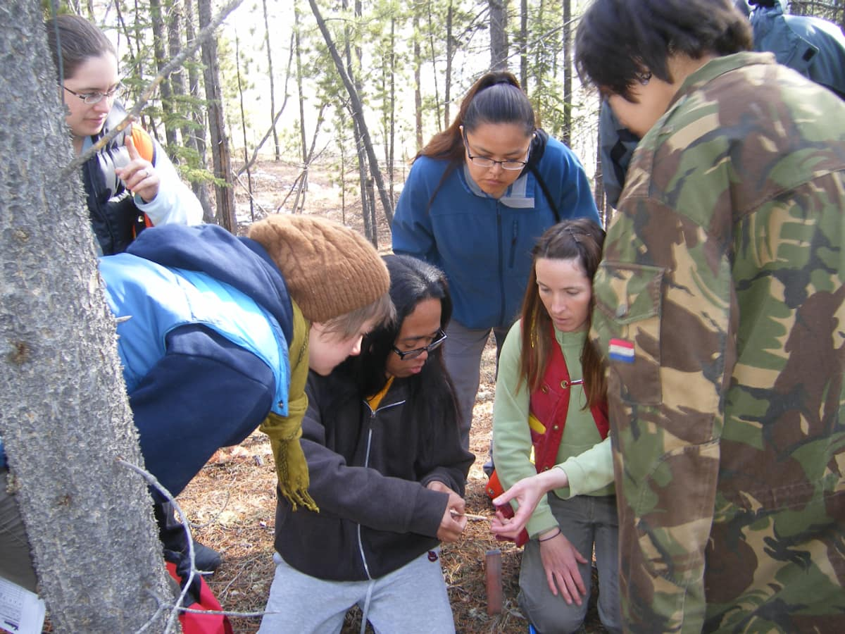 students in the field examining bark from a tree